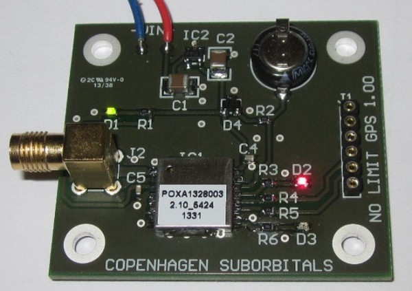 POXA1328-003 GPS unit mounted on a test PCB