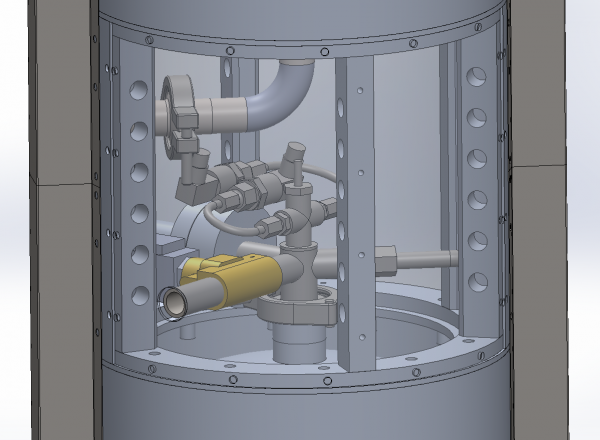 Sensor and valve mounts on the LOX tank.