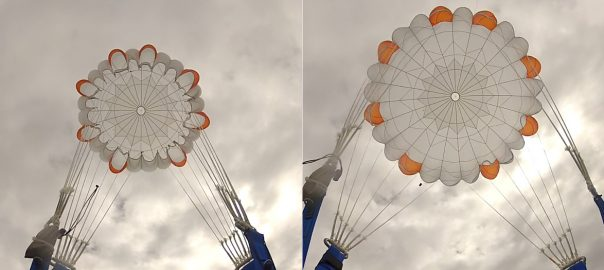 Nexø I parachute during manned (!) test jump. Left: Reefed state. Right: Unreefed and open.