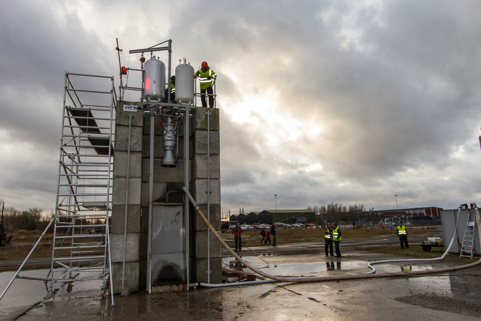 The VTC-1 teststand with the TM-65 engine. Foto: Thomas Pedersen/Copenhagen Suborbitals