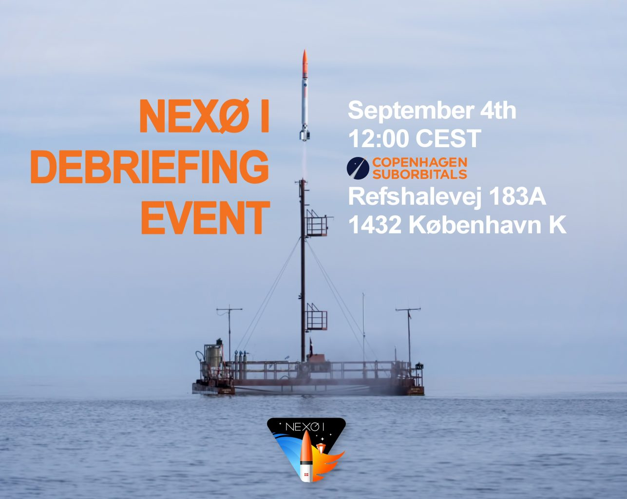 Nexø I rocket launch debriefing poster