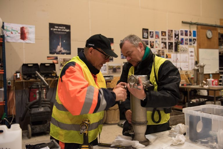Peter and Thomas retrieving Franken 5 from storage and prepping it for test. Photo: Jens Bastue Jacobsen.