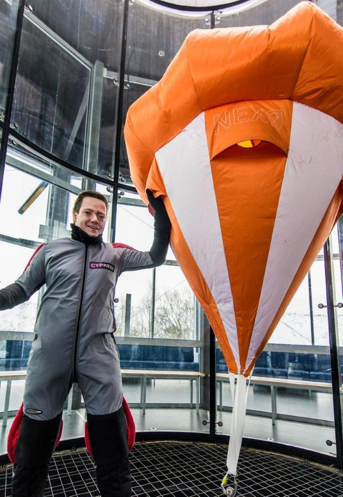 The ballute for Nexø I during testing in the wind tunnel. Photo: Jev Olsen.