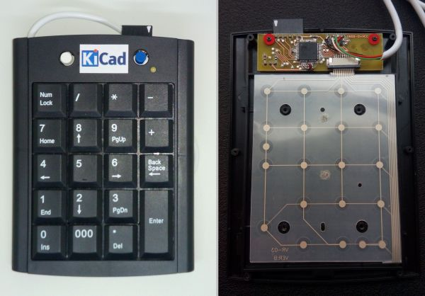 Finished Kicad keypad, front and inside views.